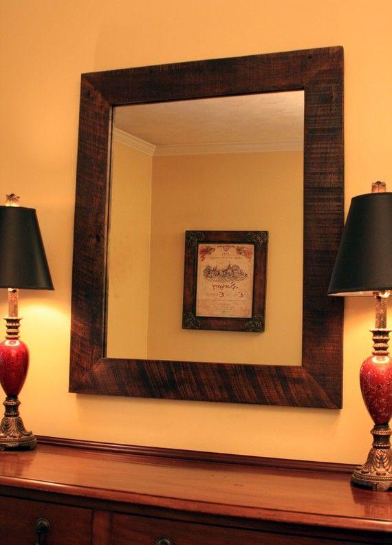 Rustic Framed Mirror Barnwood Framed Mirror 40 Inch Mirror