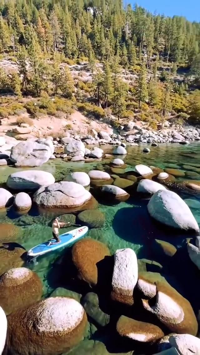 Paddleboarding the day away, at Lake Tahoe, United States