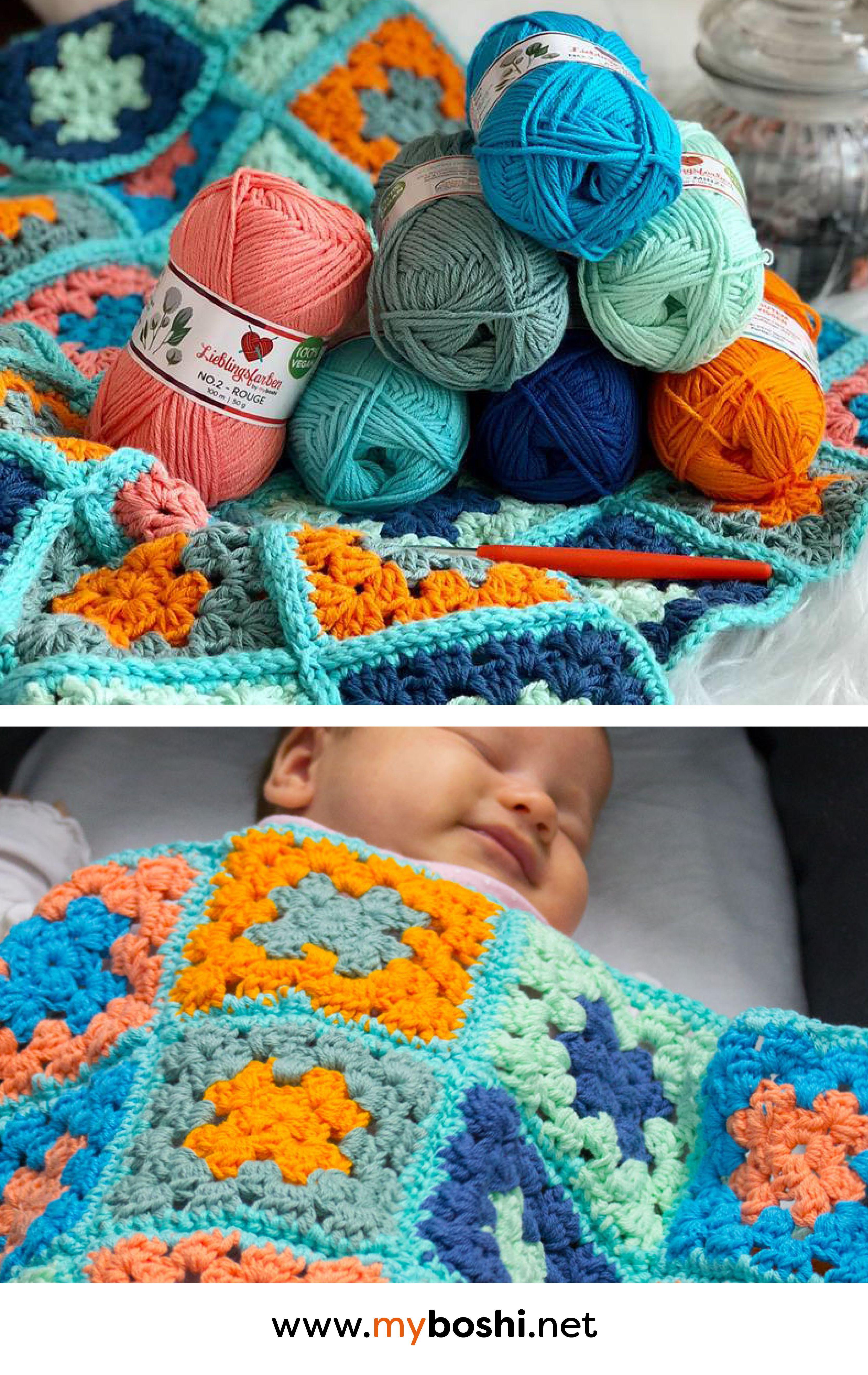 Häkelanleitung für Babydecke Kita | Granny Squares häkeln | Pinterest