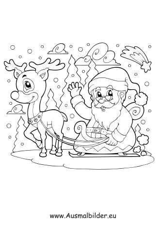 Ausmalbild Weihnachtsmann Fahrt Mit Rentier Schlitten Ausmalbilder Weihnachtsmann Weihnachtsmann Schlitten Weihnachtsmann