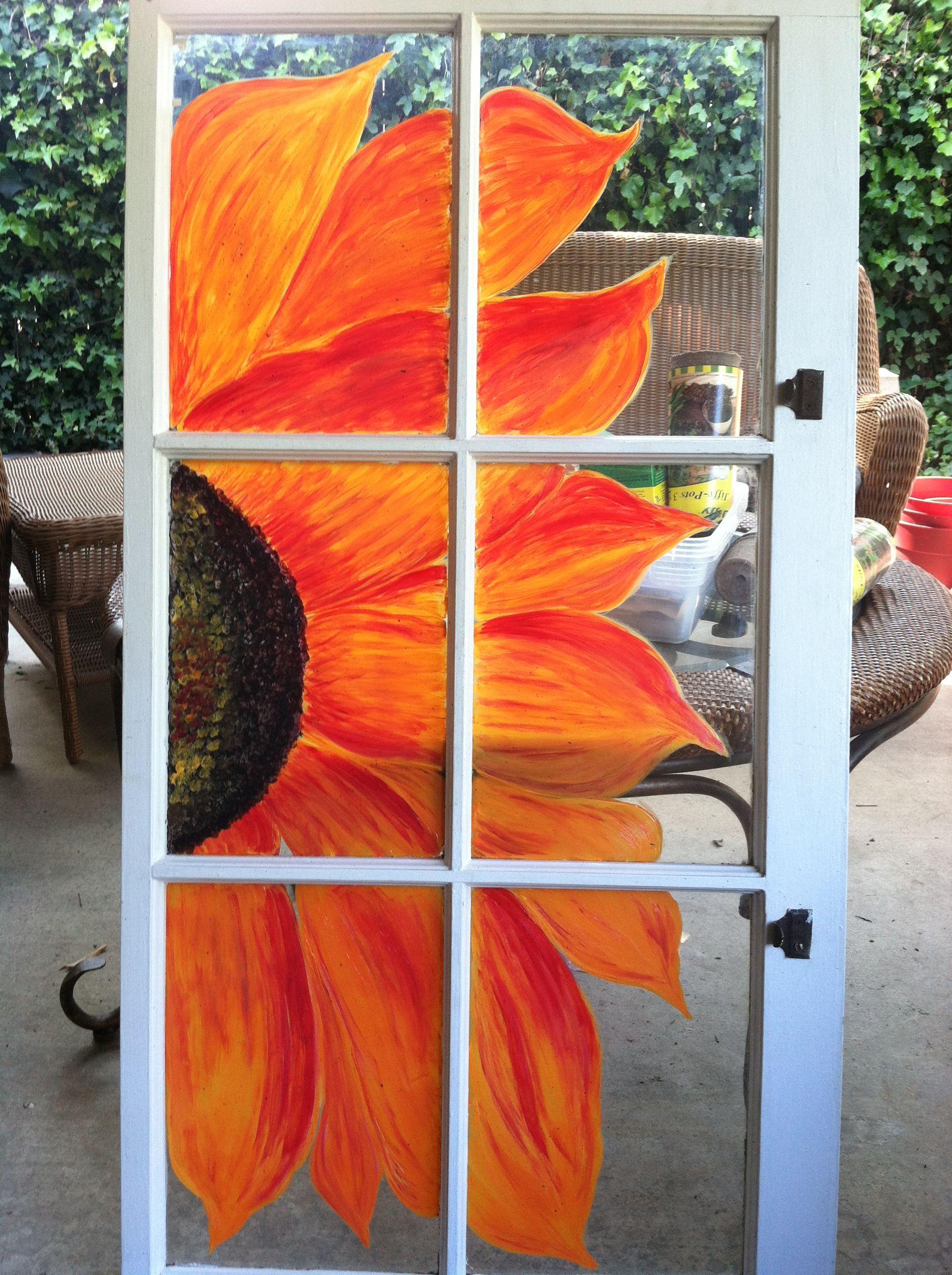 6 pane window ideas  orange and red sunflower painted window pane acrylic windows