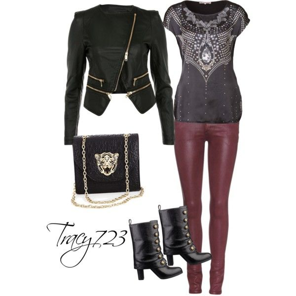 Burgundy coated jeans with gray & or black always rocks :)