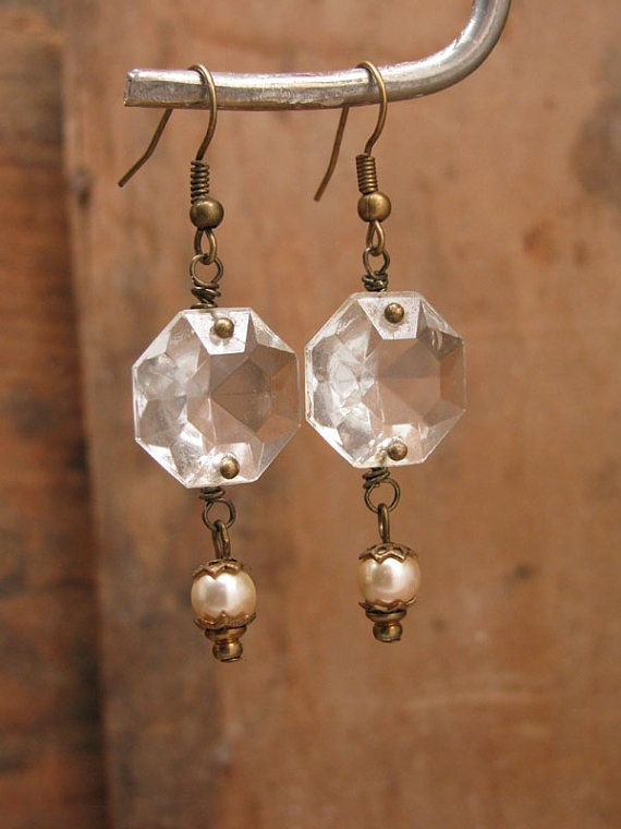 Pearl Cluster Earrings Shabby Vintage Bohemian Glass Champagne - Upcycled chandelier crystals