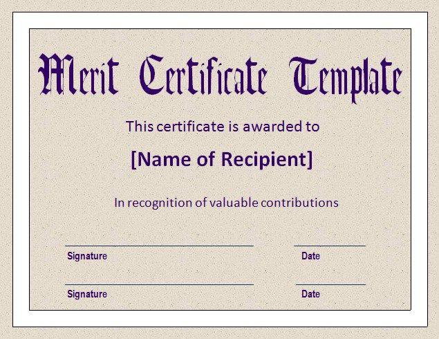 merit certificates