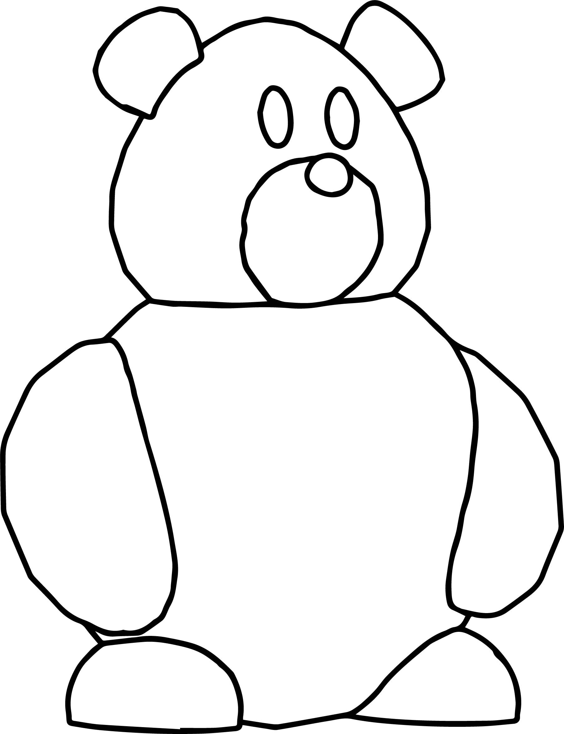 Nice Bear Too Basic Cartoon Coloring Page
