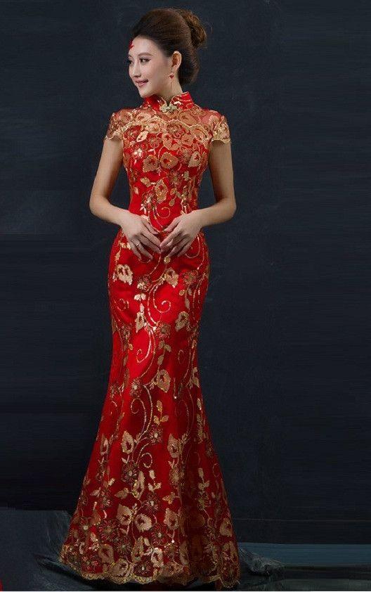 47f08b8812e4 Chinese Wedding Fishtail Gown Cheongsam Bridal Evening Banquent Dress