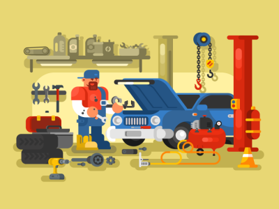 Mechanic Repairs Car In The Garage Flat Vector Illustration Auto Repair Car Mechanic Service Station