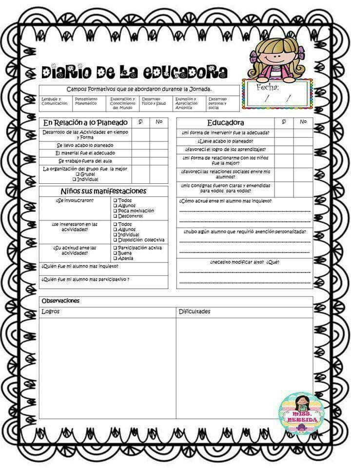 Diario De Trabajo Diario De La Educadora Educacion Primaria Bitacora Escolar
