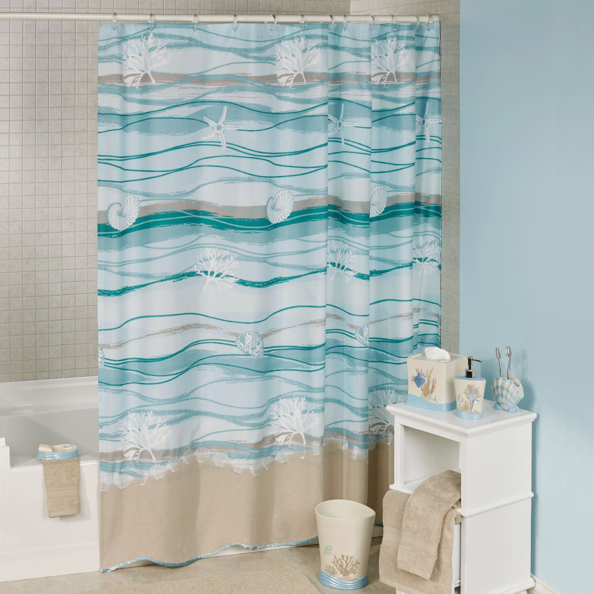 Seaview Wave Design Coastal Shower Curtain