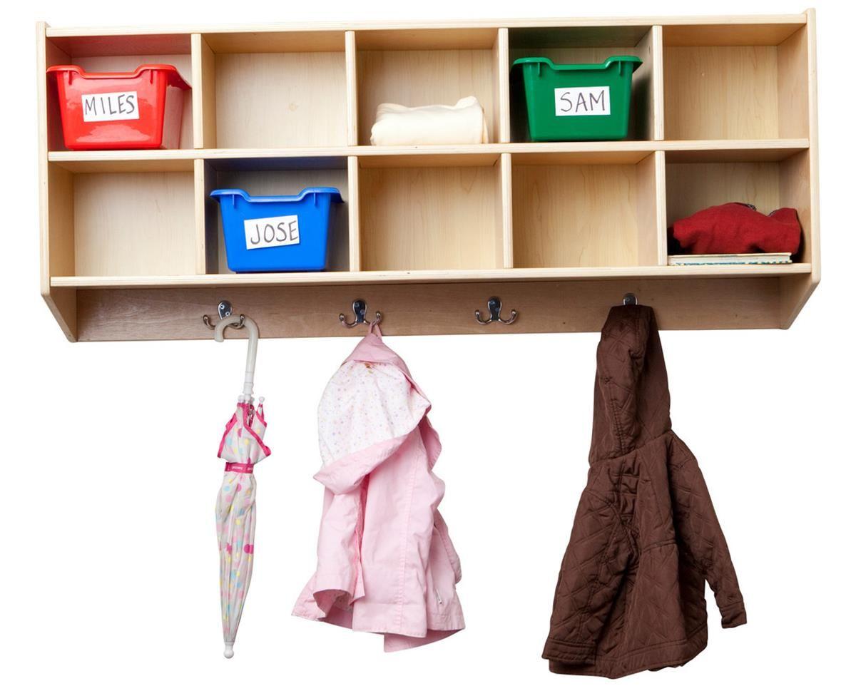 Children S Storage Locker For Wall 10 Cubbies 8 Hooks Birch Natural Ecr4kids Locker Storage Cubbies