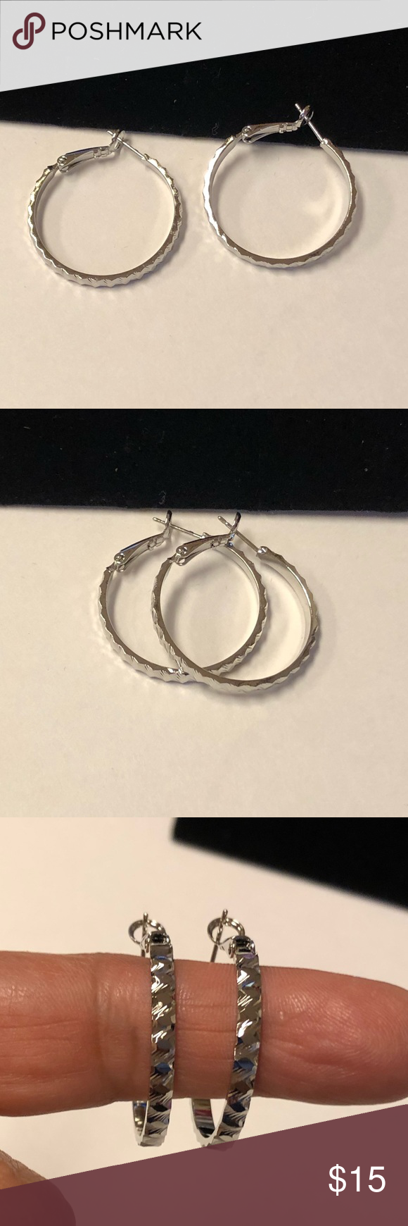 Silver Plated Hoop NWT Silver