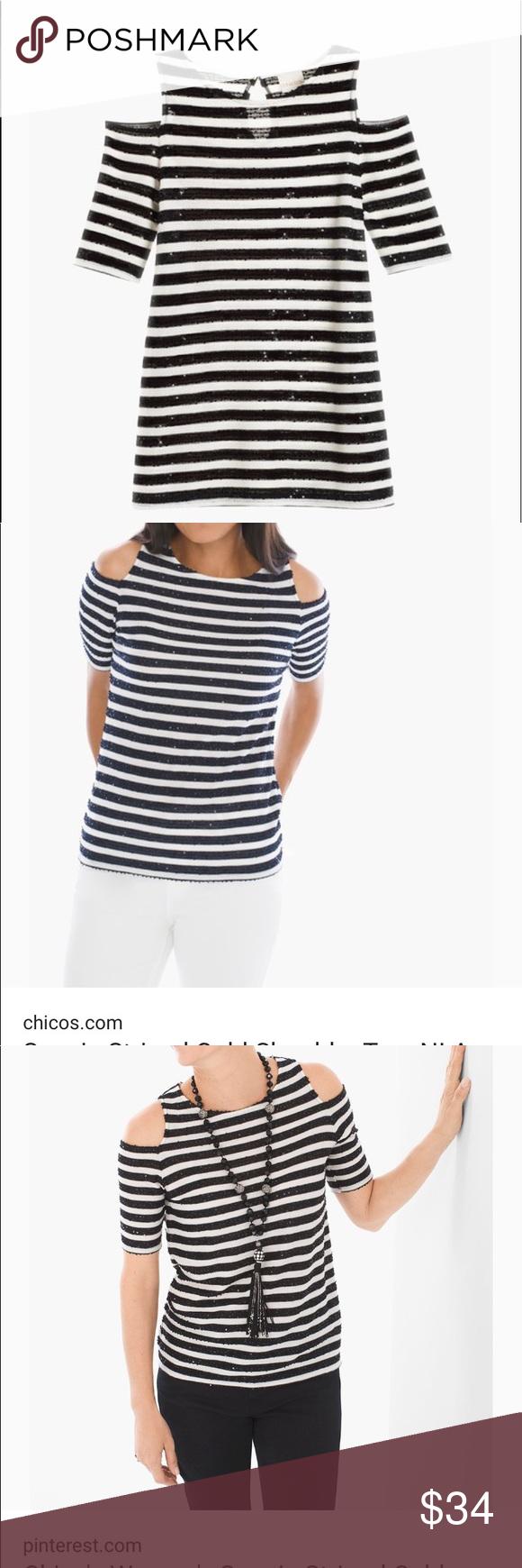 e891dcfb01dde NEW CHICOS. Shiny sequin cold shoulder top NEW CHICOS shiny sequin stripe cold  shoulder top