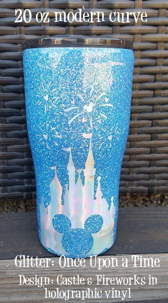 Disney Castle with Fireworks Once Upon a Time Blue Glitter Stainless Steel Glitter Tumbler Custom Tu #disneycups