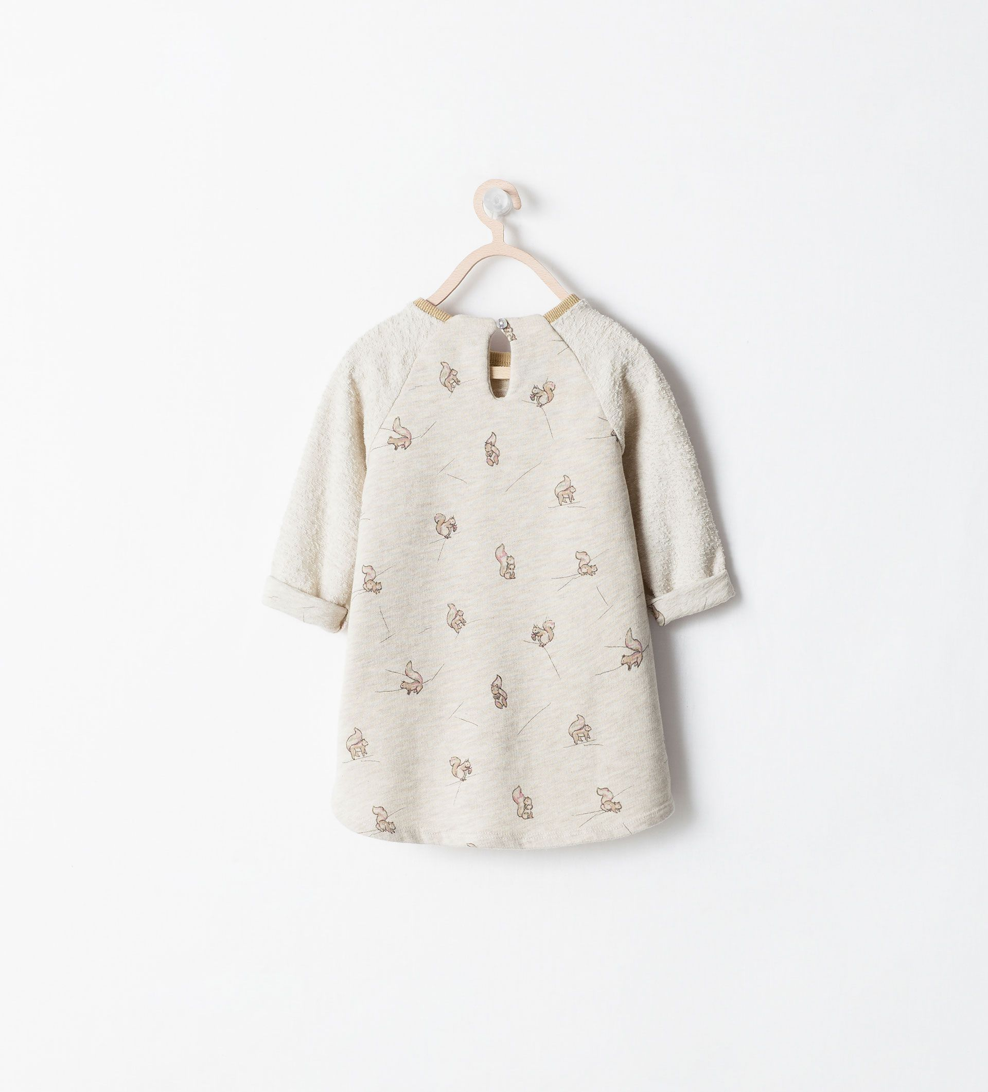 image 2 of mixed fabric squirrel print dress from zara kiddos
