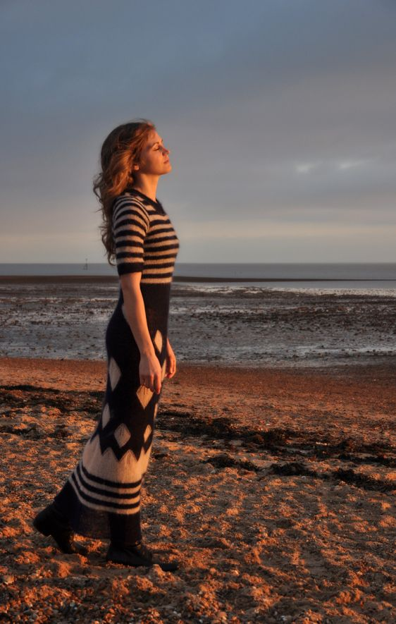 'Frozen Leaves' maxi hand knitted dress Deimante Meilune