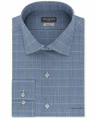 Van Heusen Mens Dress Shirt Blue Size 18 1/2 Regular Fit Plaid Print $55 #054 #fashion #clothing #shoes #accessories #men #mensclothing (ebay link)