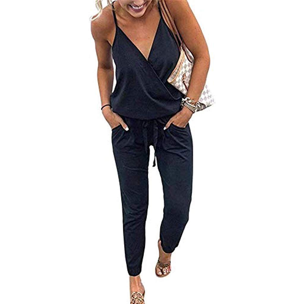 Femme Combishort Casual Romper Jumpsuit Bodysuit Col V Et/é Plage Combinaison Short Courte Manches avec Poche Playsuit