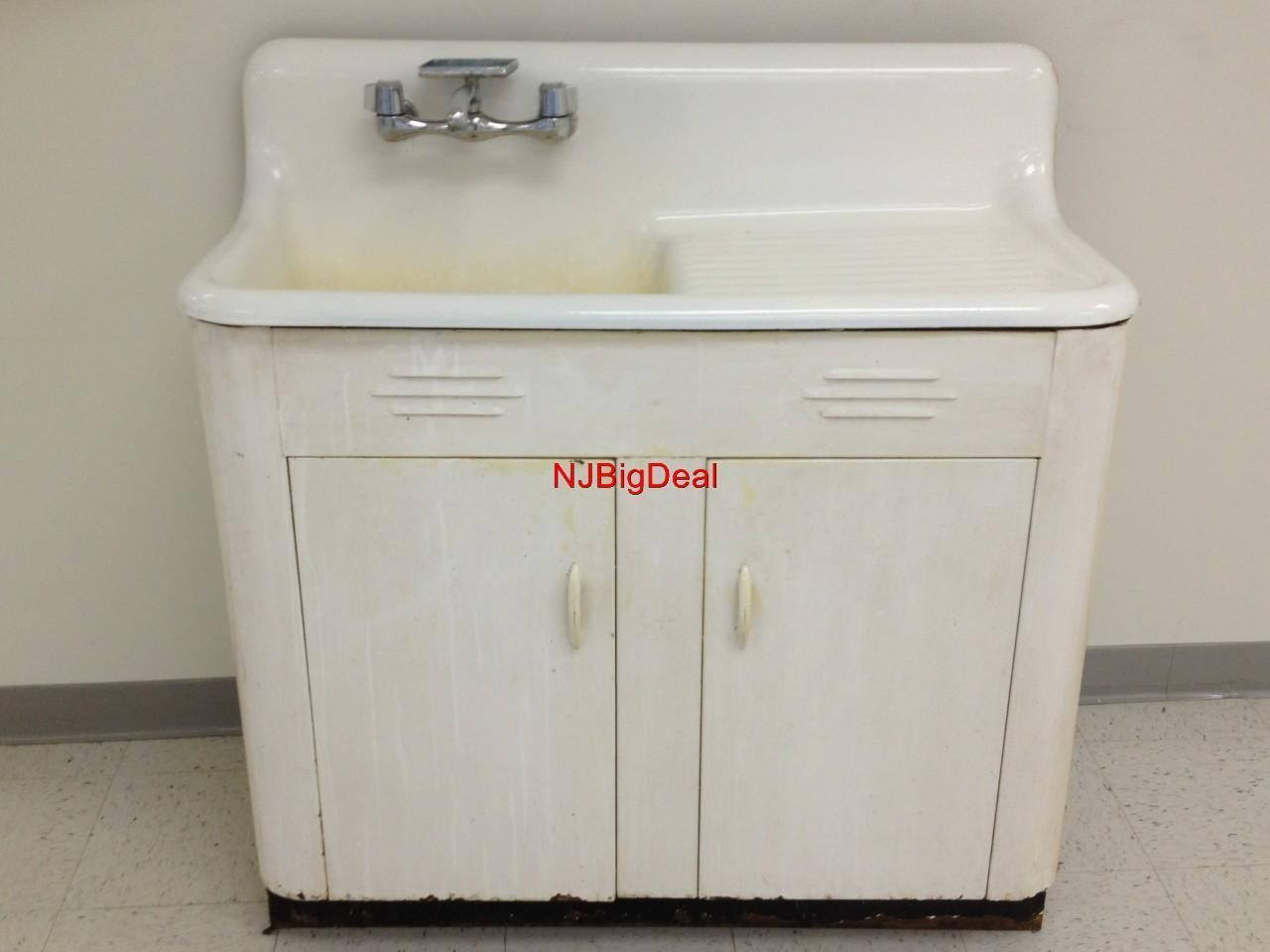Vintage kitchen sink with cabinet white porcelain cast iron and ...