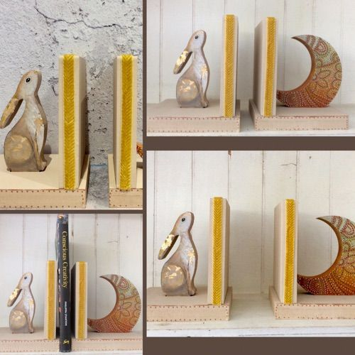 Hare Moon Wood Book Ends Painted With Gold Leaf Wood