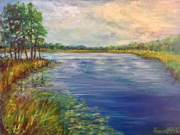 Inspired by Western Lake in Grayton Beach State Park, Florida, a most peaceful and inspiring place. On a misty, coastal day those gray skies are a reminder that clear skies will eventually return.The contrasting grasses, lily pads, and overcast clouds were particularly compelling elements in the scene. Modern landscape painting. Coastal dune lake. Artwork for the home. Susan Abell Art.