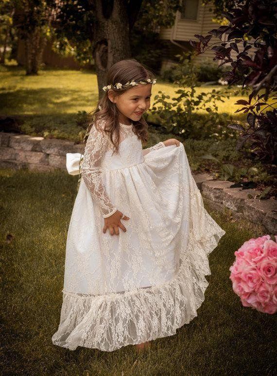 be00843e511 Best Seller Soft Off White Long Flower Girl Dress Rustic Country Forest  Weddings Large Bow Girls Dresses Kids Clothing