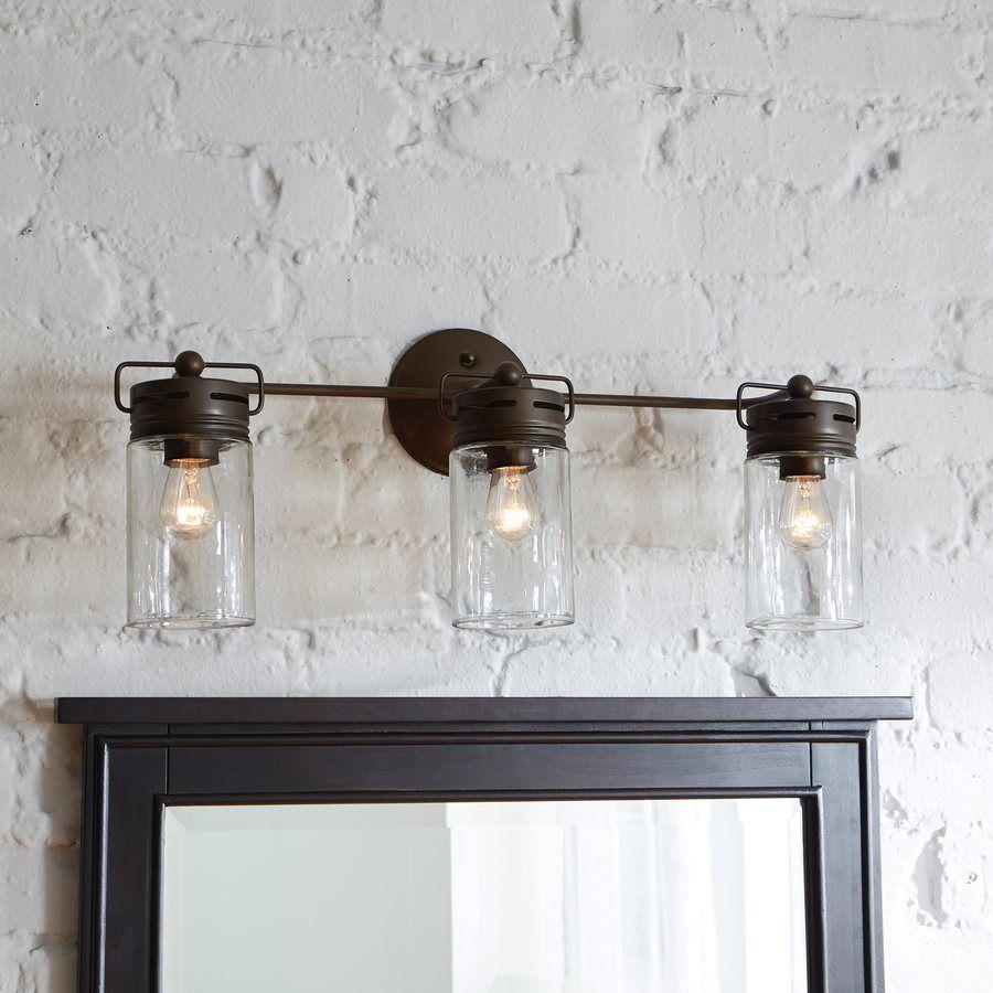 Allen Roth Light Vallymede Aged Bronze Bathroom Vanity Light - Bathroom vanity lights facing up or down