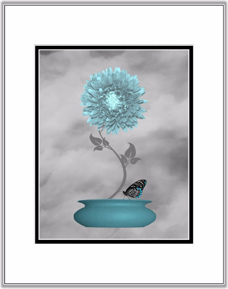 Teal gray wall art photo print home bath decor bedroom bathroom picture matted