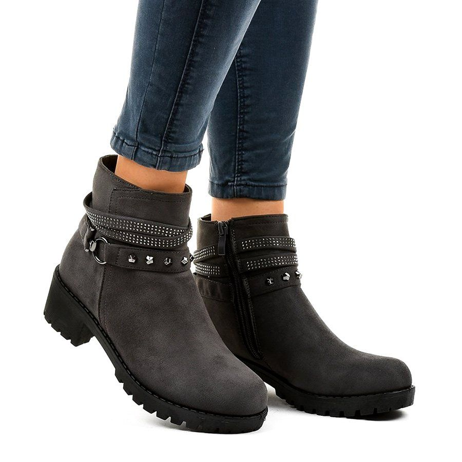 Szare Zamszowe Botki Na Obcasie L3058 29 Suede High Heels Boots High Heel Boots Ankle