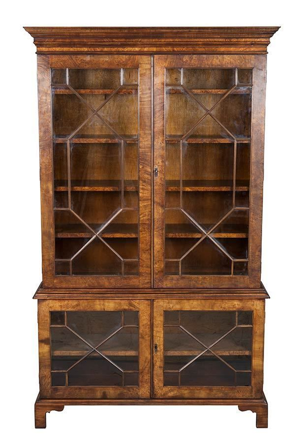 Antique Style Walnut Glass Door Locking Adjustable Bookcase Book Shelf Cabinet Bookcase With Glass Doors Antique Bookshelf Antique Bookcase