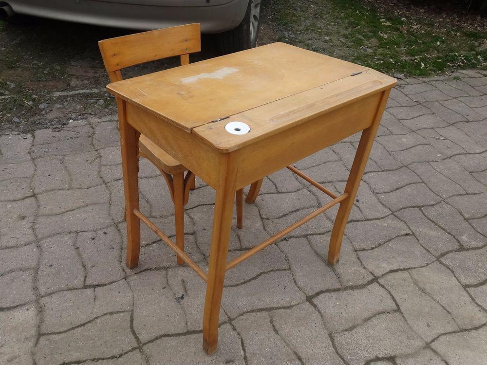 Bureau d ecolier avec chaise vintage brocante antiquites
