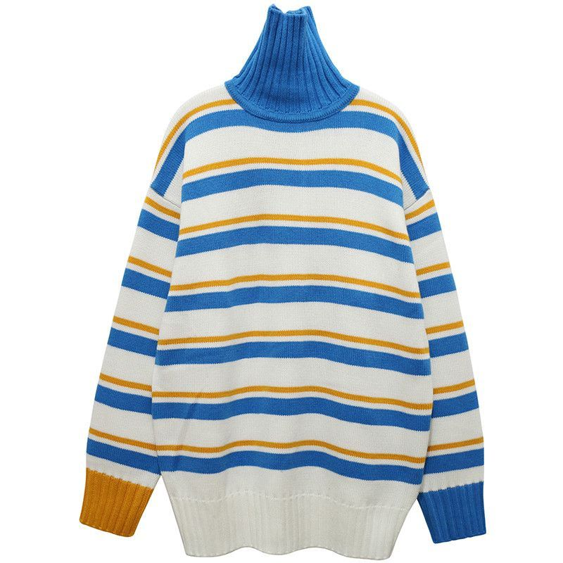 fb58e82319cd Mustard and Blue Striped Turtle Neck in 2019