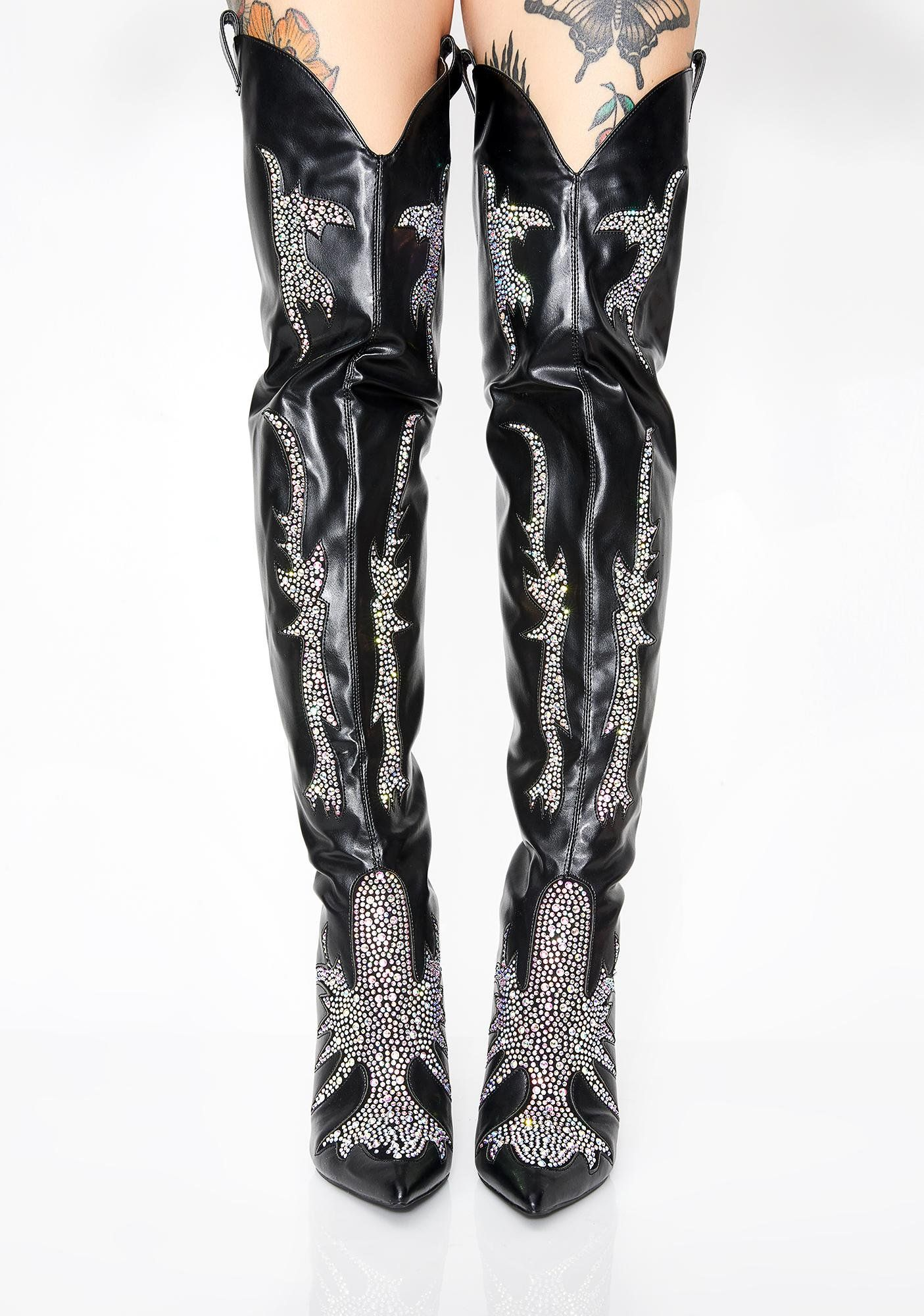 d2c0bbc82d7 Rhinestone Rider Thigh High Boots in 2019 | Shoe Fetish | Thigh high ...