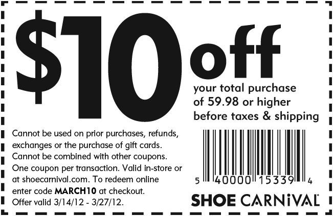image regarding Shoe Carnival Coupon Printable called $10 off at Shoe Carnival! #coupon CheckPoints Discounts