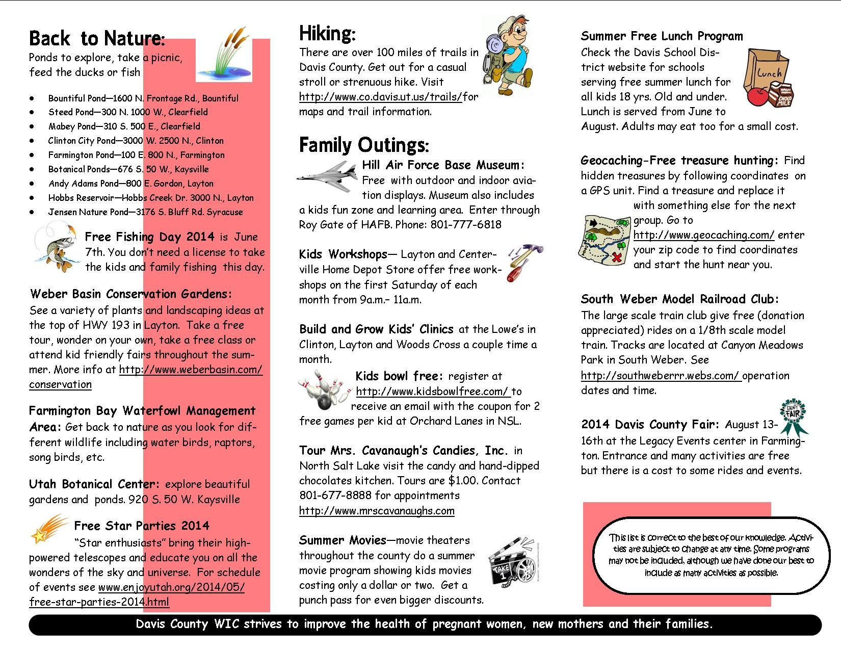 2014 Low Cost Activities In Or Near Davis County Utah Part 2 With Images Free Lunch Program Davis County Family Parties