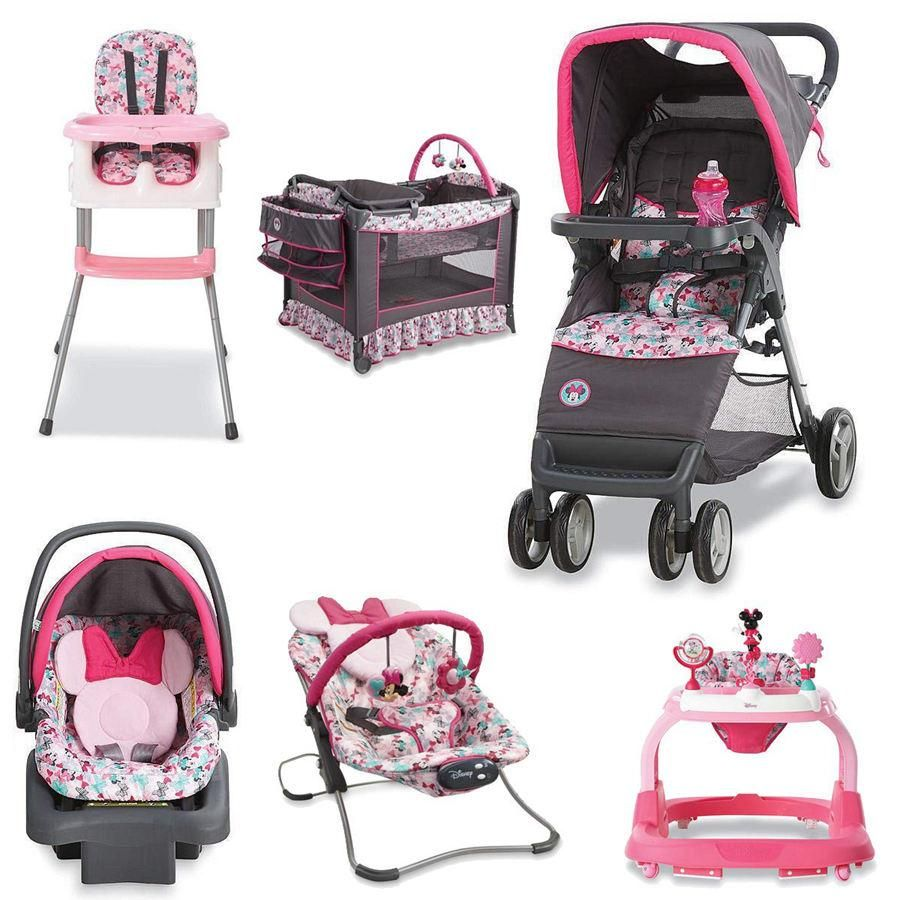 6 Piece MINNIE MOUSE NURSERY SET Stroller Car Seat Travel