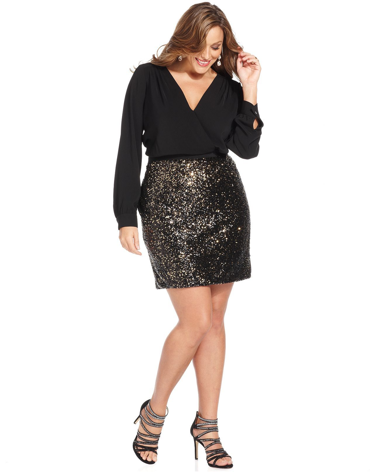 DKNYC Plus Size Dress, LongSleeve Surplice Sequin Plus