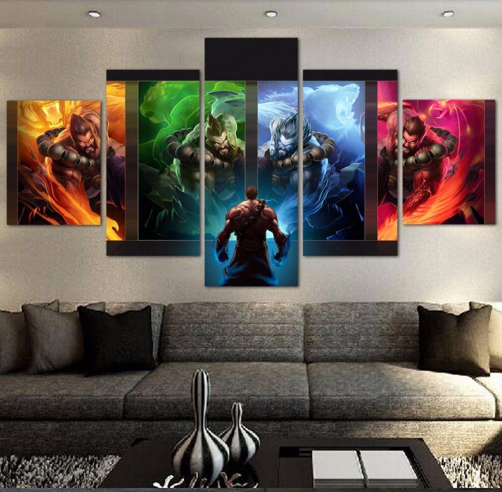 5 Pecas Moderna Pintura Hd League Of Legends Jogo Pintura Canvas Wall Art Imagem Para Casa Decor Arte De Parede Pintada Lona De Parede Arte Em Tela Para Parede