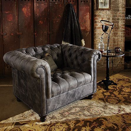 Berwick tufted leather chair in Bull Grey from Arhaus
