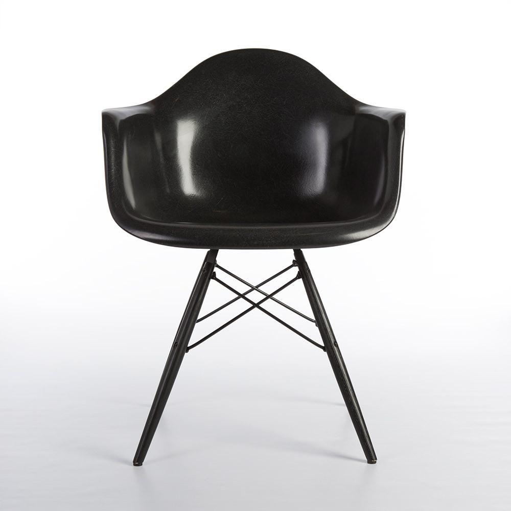 Herman Miller All Original Eames Black Fiberglass Arm Black DAW Shell Chair