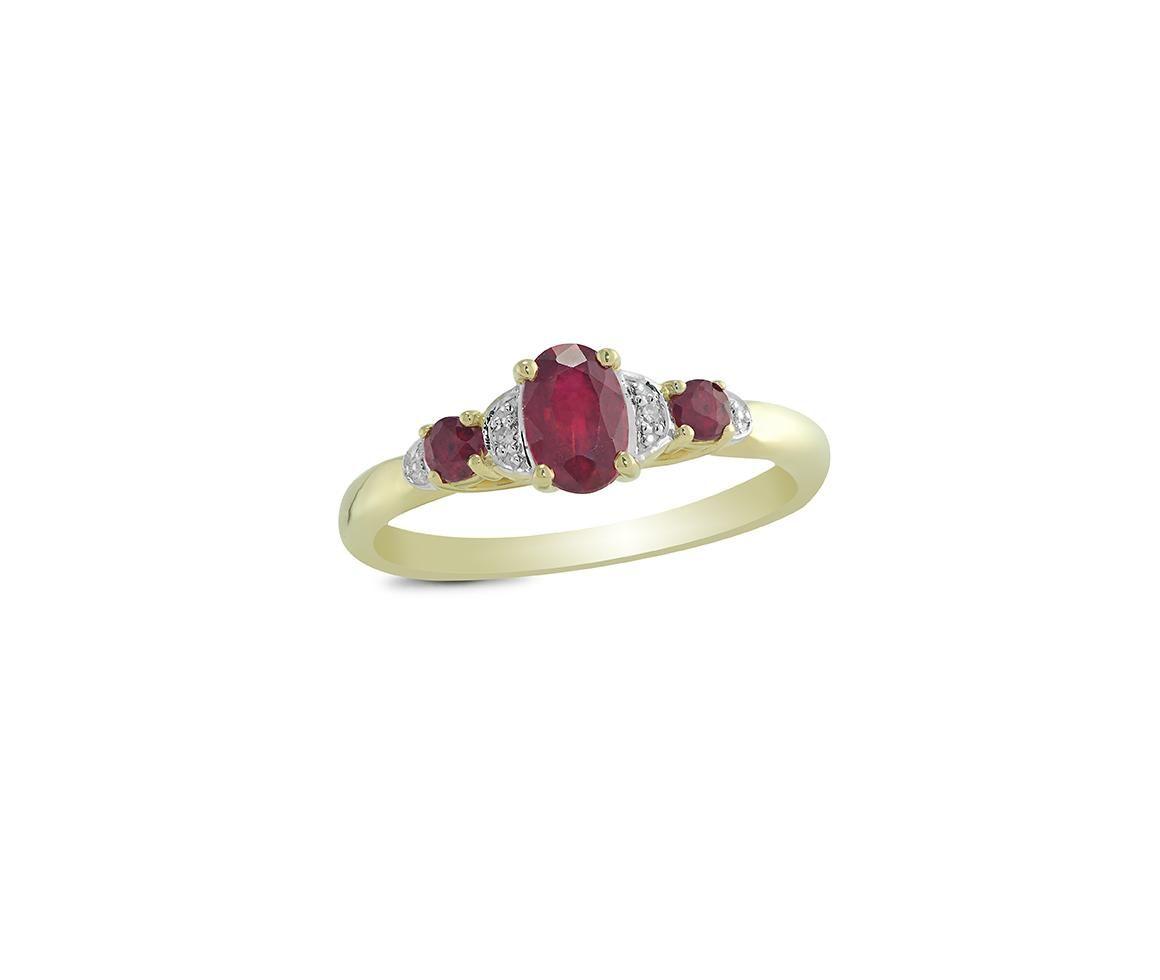 10k Yellow Gold Ruby Diamond Ring Ruby Diamond Rings Rings Diamond