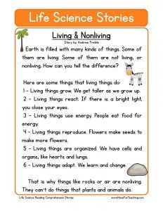 Science passages with questions - Living & Nonliving | Stories ...