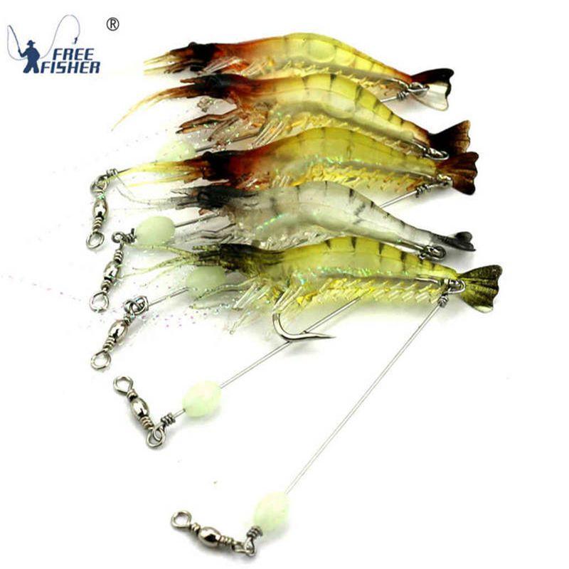 20x Silicone Shrimp Fishing Lure Bait Prawn Saltwater Fishing Hooks Bait New