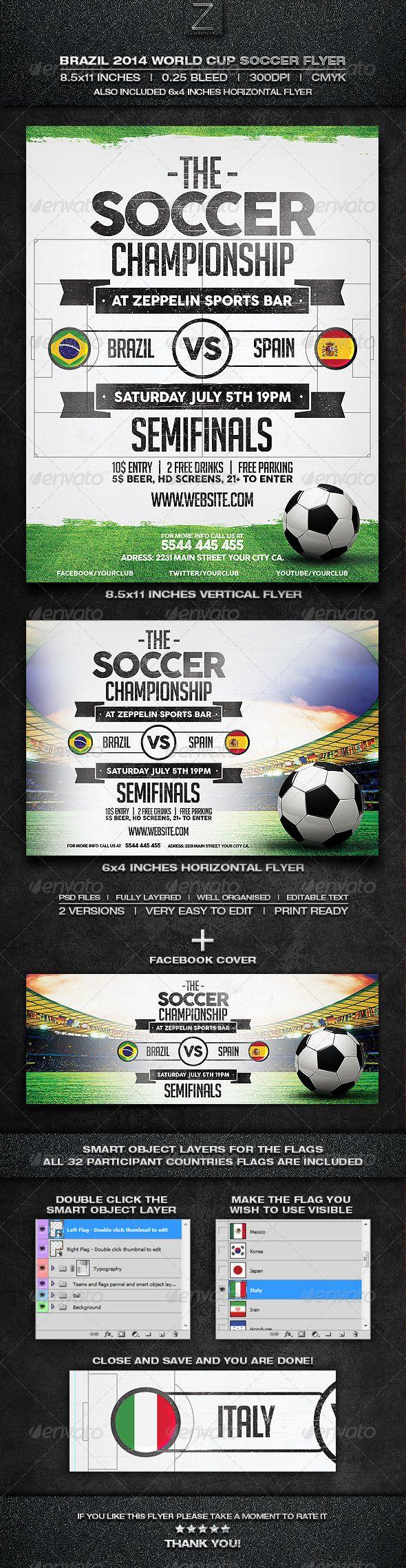 Brazil Soccer World Cup  Flyer Template  Flyer Template