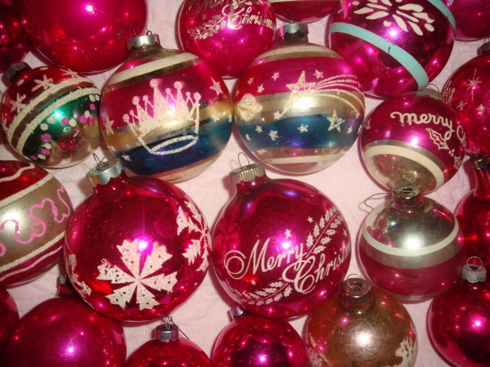 28 Vtg FUSCHIA Shiny Brite Mercury Glass Stencil Glitter CHRISTMAS Ornaments Lot
