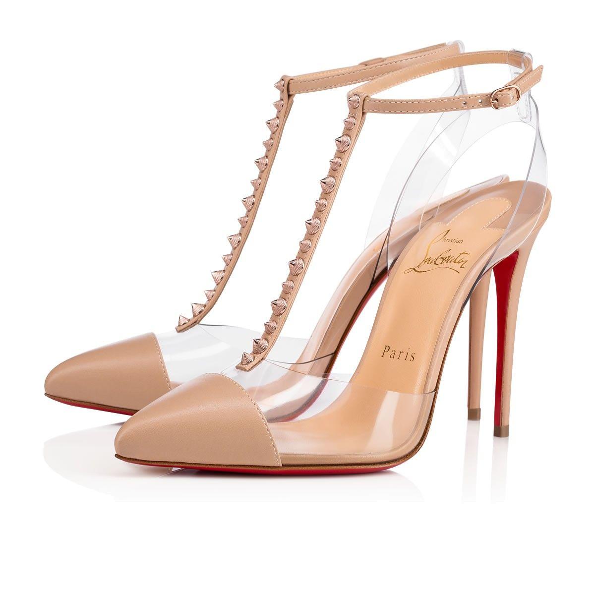 NOSY SPIKES NAPPA SHINY/PVC 100 Nu/Gold Rose Lambskin - Women Shoes - Christian  Louboutin