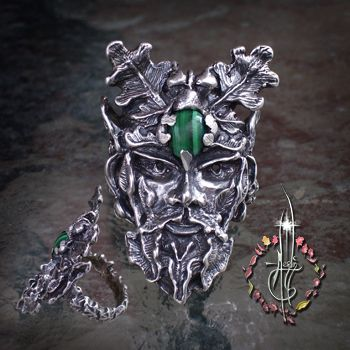 """Green Man Ring This """"Spirit of the Wood"""" was revered through out the Celtic lands as a manifestation of the Woods themselves, found in the legends of Arthur ~ Shown here as a ring with Malachite ~ the blog: http://wp.me/pxYkh-Uf"""