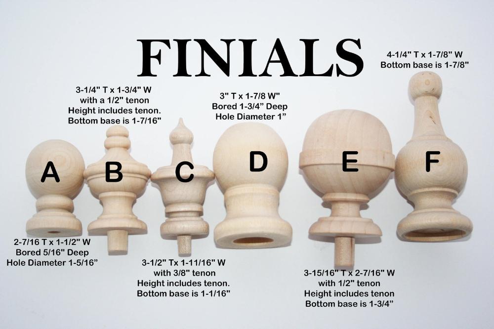 tops wood finials for decorative