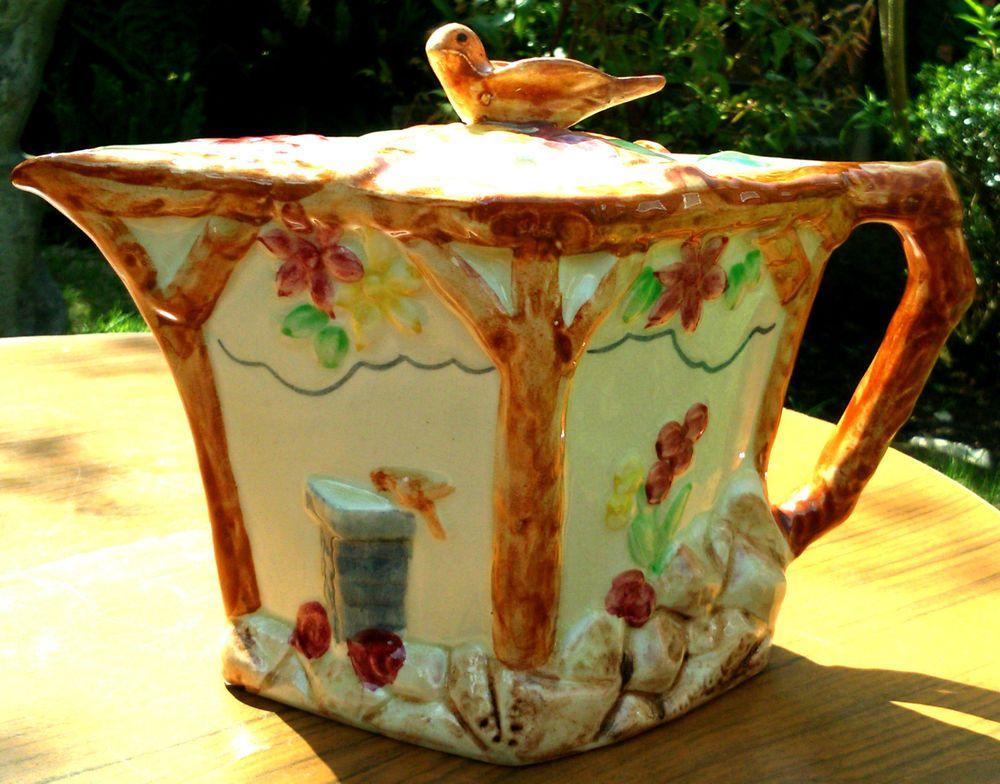 RARE! Wade Heath~England~Art Deco~Hand-Painted~Teapot~Bird Finial~Restored Lid