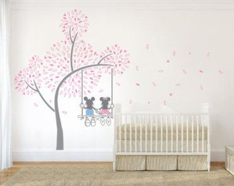 Delightful Mickey Mouse U0026 Minnie Tree Swing Wall Sticker Wall By WallChick Design Inspirations
