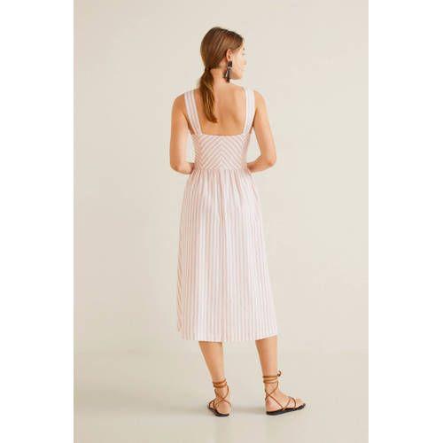 Wonderbaarlijk Mango gestreepte jurk met linnen lichtroze/wit - Jurken EK-31